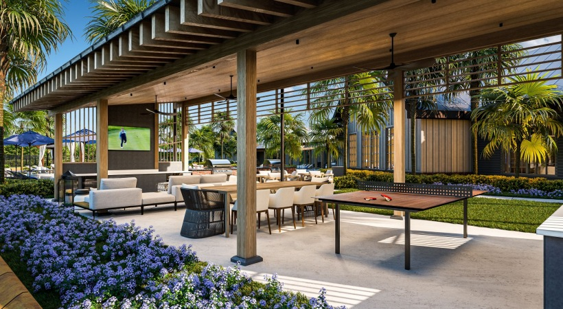 Expansive outdoor lounging areas including outdoor TVs