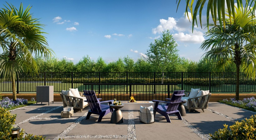 Sundeck with chaise lounges and outdoor fire pit